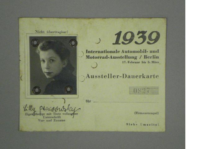 A 1939 Berlin Motor Show official press pass,