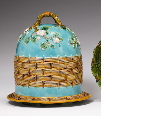 A George Jones Majolica cheese dome and cover Circa 1873-5.