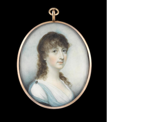 Walter Robertson (Irish, died  1801) A Lady, wearing Classical inspired robes, white muslin dress with pale blue robe pinned at her shoulder with brooch, a dark blue cloak over her right arm, her hair worn long and curled