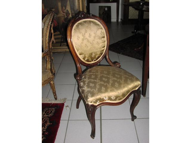 Set of six mid Victorian walnut salon chairs