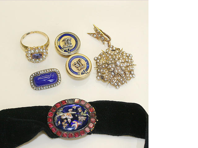 A gold amethyst and half pearl set brooch, first half 19th Century, two pearls lacking, later mounted as a ring, similar period blue enamelled brooch within a half pearl border, pair of Victorian gold shirt studs, each centred by a rose diamond set initial within a blue enamel border, Edwardian gold star pendant, set throughout with half pearls, and a Georgian garnet and enamel clasp, one garnet lacking. (6)