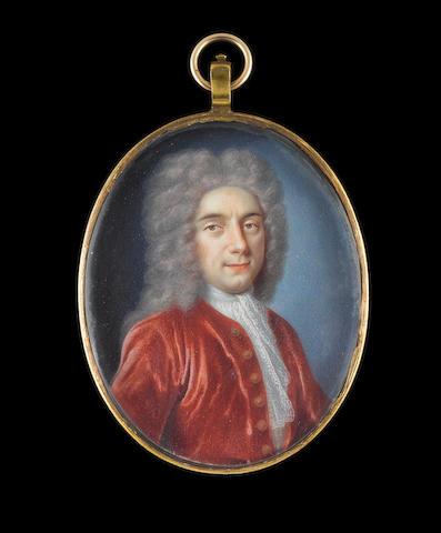 Benjamin Arlaud (Swiss, circa 1670-after 1731) A Gentleman, wearing crimson coat, white lace cravat and powdered wig