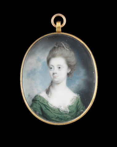 Luke Sullivan (Irish, 1705-1771) A Lady, wearing leaf green dress over lace-trimmed white shift, silver clips at her upper arms and strand of pearls in her upswept powdered hair
