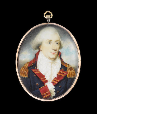 George Place (Irish, died 1805) Captain R. Bartlett, wearing the uniform of the Honourable East India Company Artillery, blue coat with red facings, gold buttons and lace in pairs and gold epaulettes, white waistcoat, frilled chemise, cravat and powdered wig, his right sleeve pinned to his coat