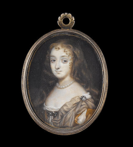 Richard Gibson (British, 1615-1690) Anne Hyde, Duchess of York (1637-1671), wearing ochre dress with slashed sleeve over white smock, mole-coloured mantle pinned at her left shoulder with jewelled clasp, pendent pearls from a jewelled brooch at her corsage and pearl necklace, her brown hair worn loose and curling