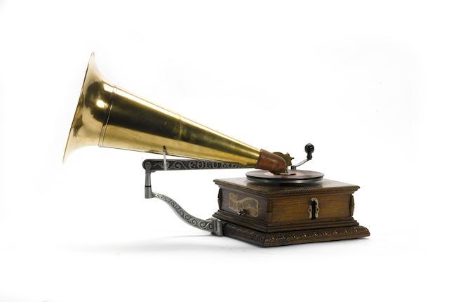 A Columbia type AJ Disc Graphophone, circa 1902,