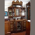 An early 20th century mahogany and inlaid side cabinet en suite