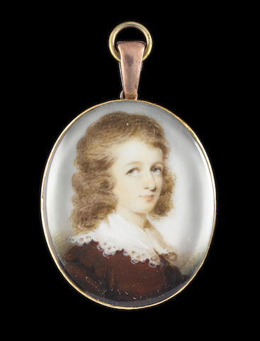 Ozias Humphry, RA (British, 1742-1810) A Young Boy, wearing brown jacket and white lawn collar, his curling hair worn long