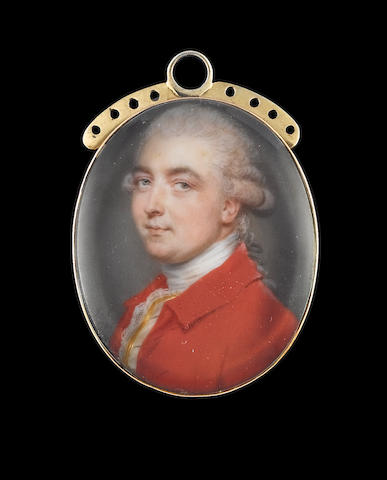 John Smart (British, 1742-1811) Joseph Sage (d.1820), wearing red coat, white waistcoat trimmed with gold braid, white lace cravat and stock, his hair powdered and worn en queue with a grey ribbon