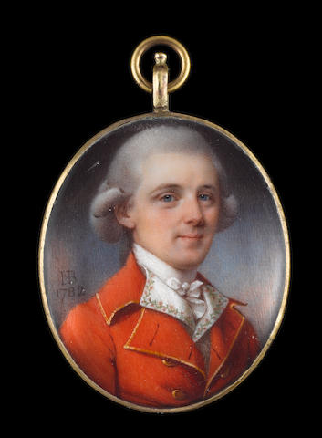 John Bogle (British, 1746-1803) A Gentleman, wearing scarlet coat trimmed with gold braid, white waistcoat with embroidered floral border, frilled white chemise, tied stock and powdered wig worn en queue