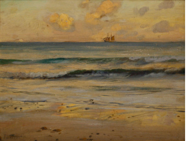 Frank Lewis Emanuel (British, 1866-1948) Schooner at sunset