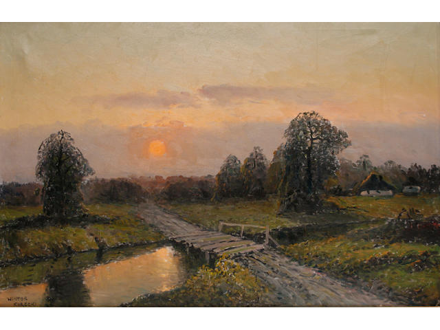 Wiktor Korecki (Polish, 1890-1980) Sunset in the Polish countryside
