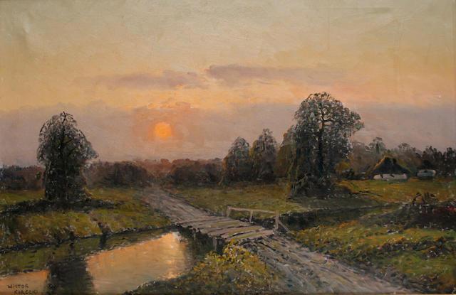 Wiktor Korecki (Polish, 1890-1980) Sunset in the Polish countryside