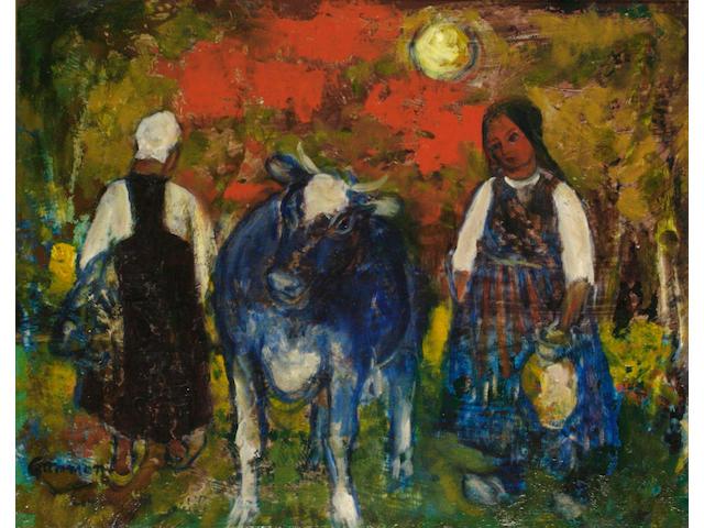 Reginald Gammon (British, 1894-1997) Peasants and a blue cow