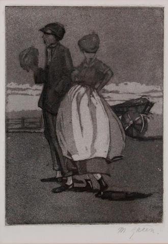 Madeline Green (British, 1884-1947) Figures on the seaside