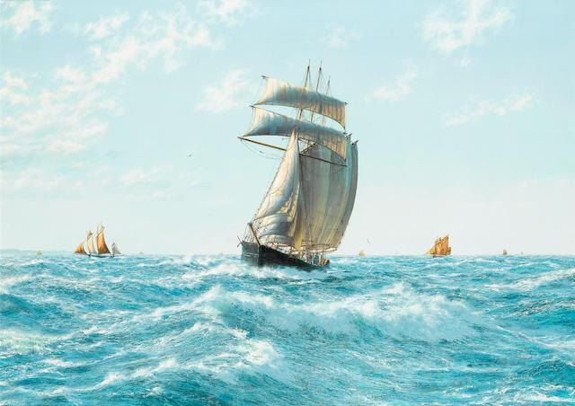 John Russell Chancellor (British, 1925-1984) The three-masted topsail schooner Elizabeth Bennett off the Normandy coast