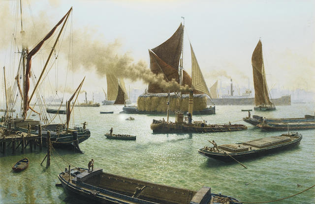 John Russell Chancellor (British, 1925-1984) Nearing journey's end in London's crowded river