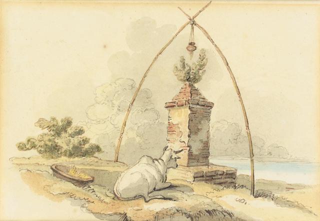 George Chinnery, RHA (British, 1774-1852) A sacred cow before an altar