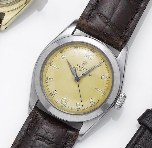 Rolex. A stainless steel mid size centre seconds wristwatch Oyster Precision, 1951