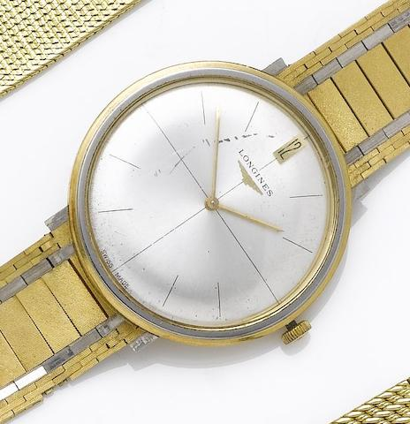 Longines. An 18ct yellow and white gold bracelet watch London Hallmark for 1965