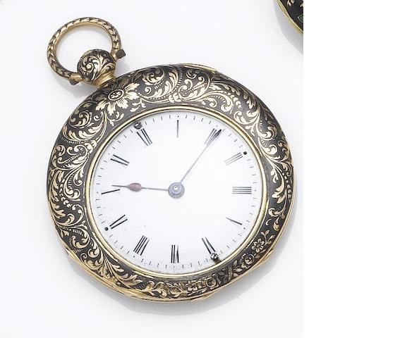Courvoisier & Comp. An early 19th century continental gold black enamel slim case fob watch with offset dialNo.25176