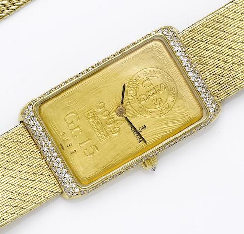 Corum. An 18ct gold diamond set bracelet watch incorporating a 999.9 gold ingot 1980's