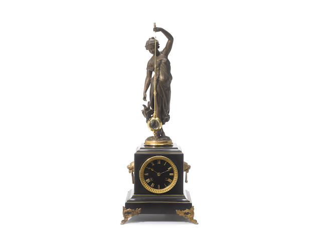 A late 19th century French marble and spelter mystery clock Guilmet, number 445