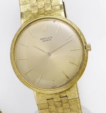 Rolex. An 18ct gold dress bracelet watch 1960's