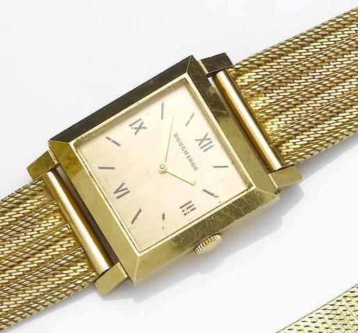 Boucheron. An 18ct gold square case wristwatch with later gold bracelet 1950's