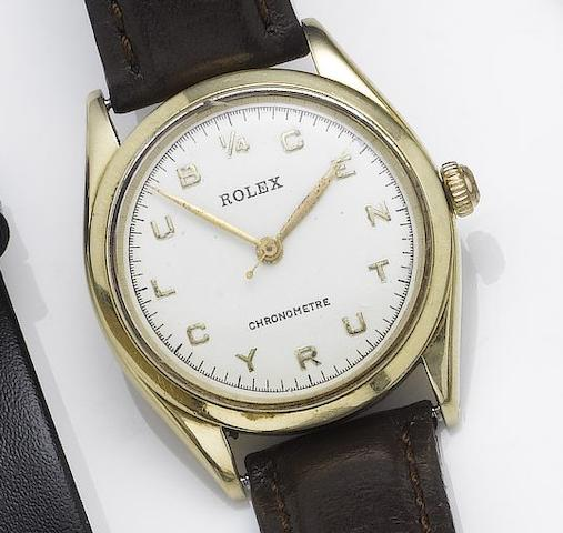 Rolex. A rare 14ct gold centre seconds wristwatch1/4 Century Club, 1950's