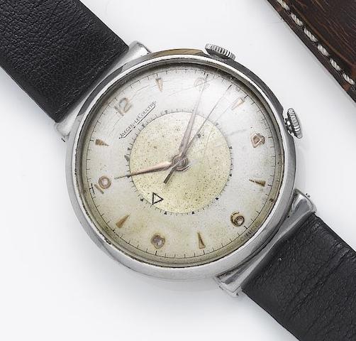 Jaeger LeCoultre. A stainless steel centre seconds alearm wristwatch Memovox, 1950's