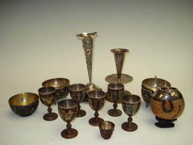 A group of white metal mounted wooden wares, 19th century