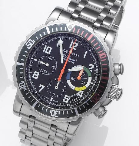 Zenith. A stainless steel automatic chronograph calendar bracelet watchEl Primero, Rainbow Fly-Back, Recent