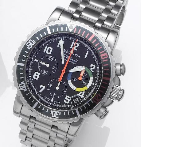 Zenith. A stainless steel automatic chronograph calendar bracelet watch El Primero, Rainbow Fly-Back, Recent