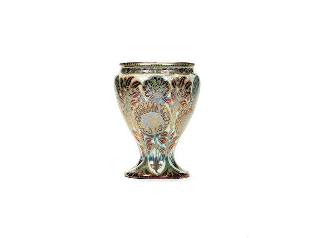 William De Morgan  'Peacocks' A rare and large lustre Vase, circa 1890