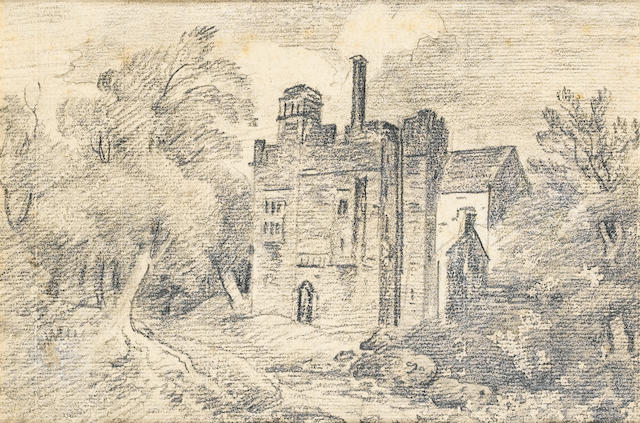 Attributed to John Constable, Building in Trees, pencil u/f