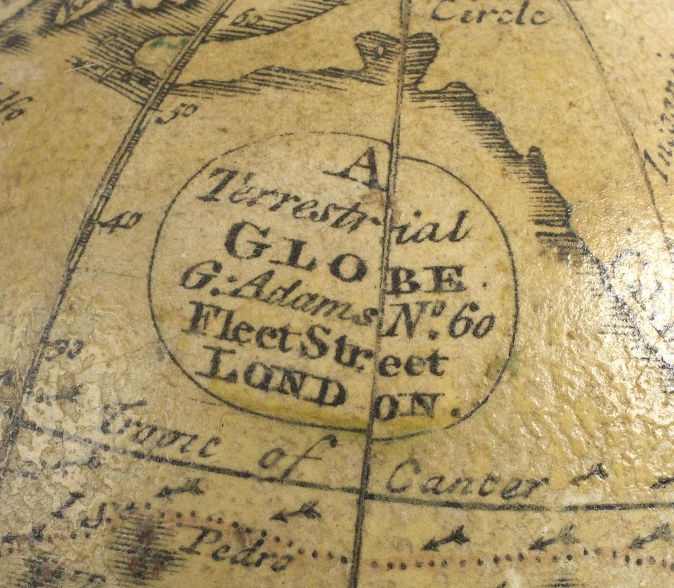 A George Adams 2 3/4-inch pocket globe, English, circa 1770,