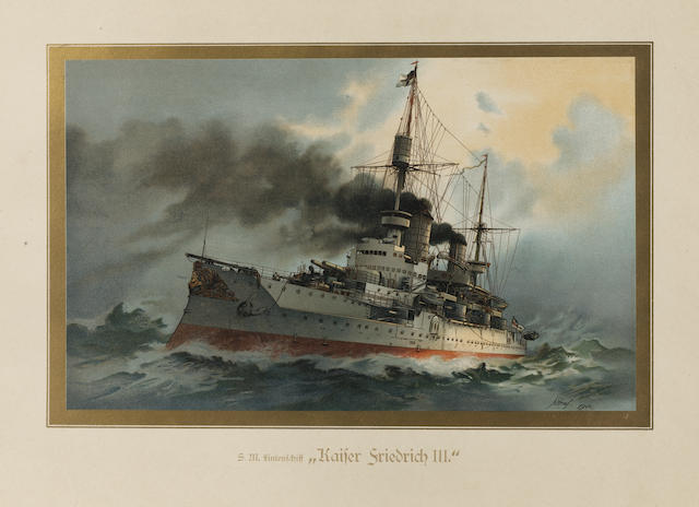 A folio of German Naval lithographs, 15.7x20.8in(40x53cm)