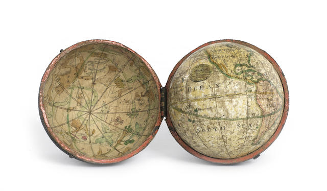 A John Miller 3-inch pocket globe, Scottish, published 1793,