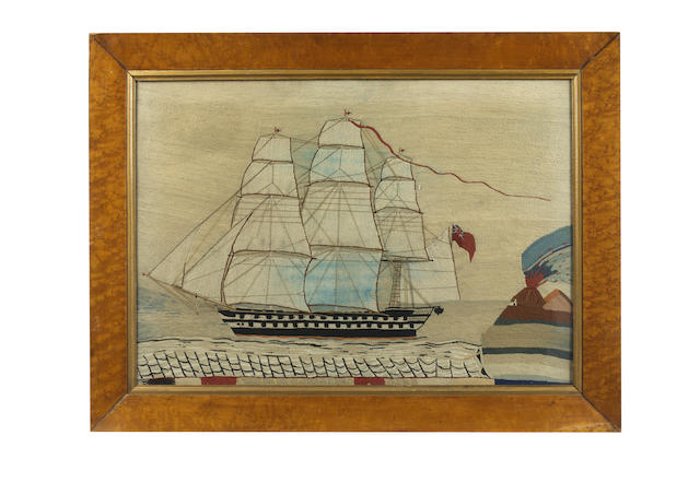 A sailor's woolwork picture of a Royal Navy warship, 18.5x26.7in(47x68cm)
