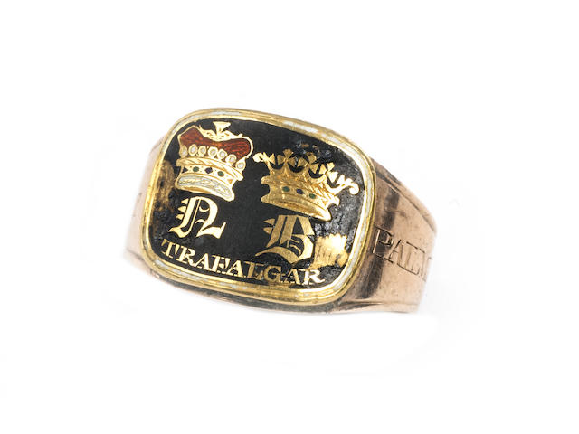 A George lll gold and enamel mourning ring, Admiral Nelson