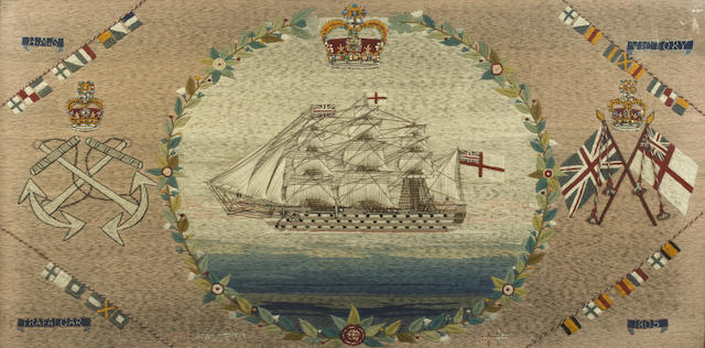 "A 19th century sailor's woolwork picture, HMS ""Victory"" 20x39in(51x99cm)"