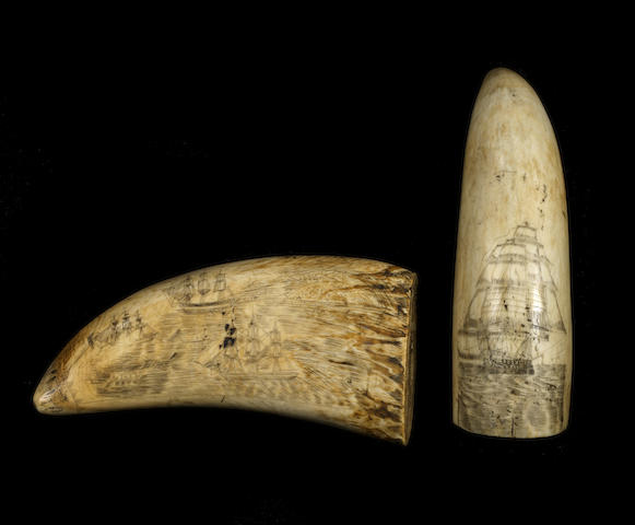 A pair of 19th century decorated whale's teeth, 2