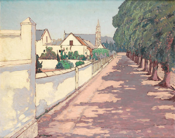 Jacob Hendrik Pierneef (South African, 1886-1957) A Cape avenue with cottages and a church