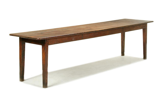 A large early 19th century chestnut farmhouse table