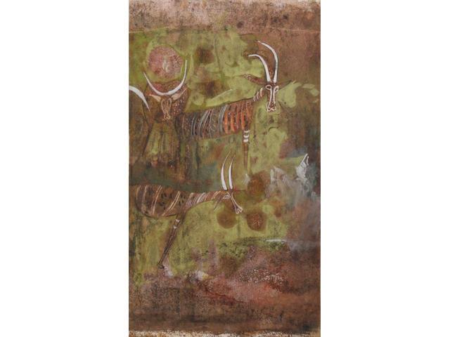 "Alexander ""Skunder"" Boghossian (Ethiopian, 1937-2003) Gazelles"