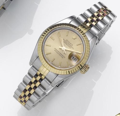 Rolex. A lady's stainless steel and gold automatic centre seconds calendar bracelet watchDatejust, Sold August 22nd 1994