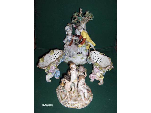A Meissen figure group of a lady