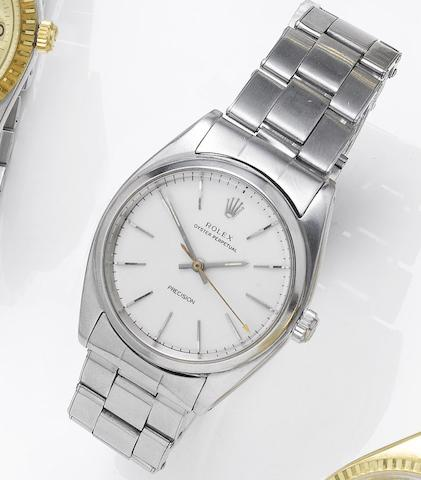 Rolex. A stainless steel automatic centre seconds bracelet watch  Oyster, 1950's