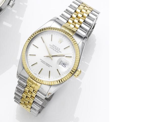 Rolex. A stainless steel and gold automatic centre seconds calendar bracelet watch Datejust, Made in 1986, Sold in 1987